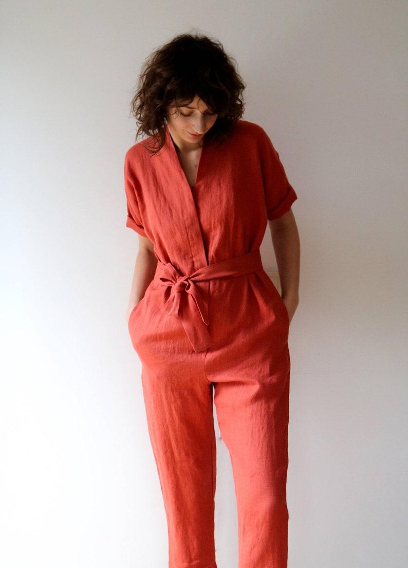 572c4a0498 Linen Jumpsuit In Burnt Orange Short Sleeve Romper Linen