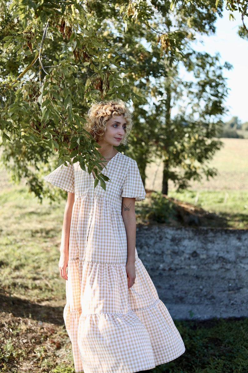 Cottagecore Dresses – Aesthetic, Granny, Vintage Ruffled checkered cotton dress/OFFON CLOTHING $143.54 AT vintagedancer.com