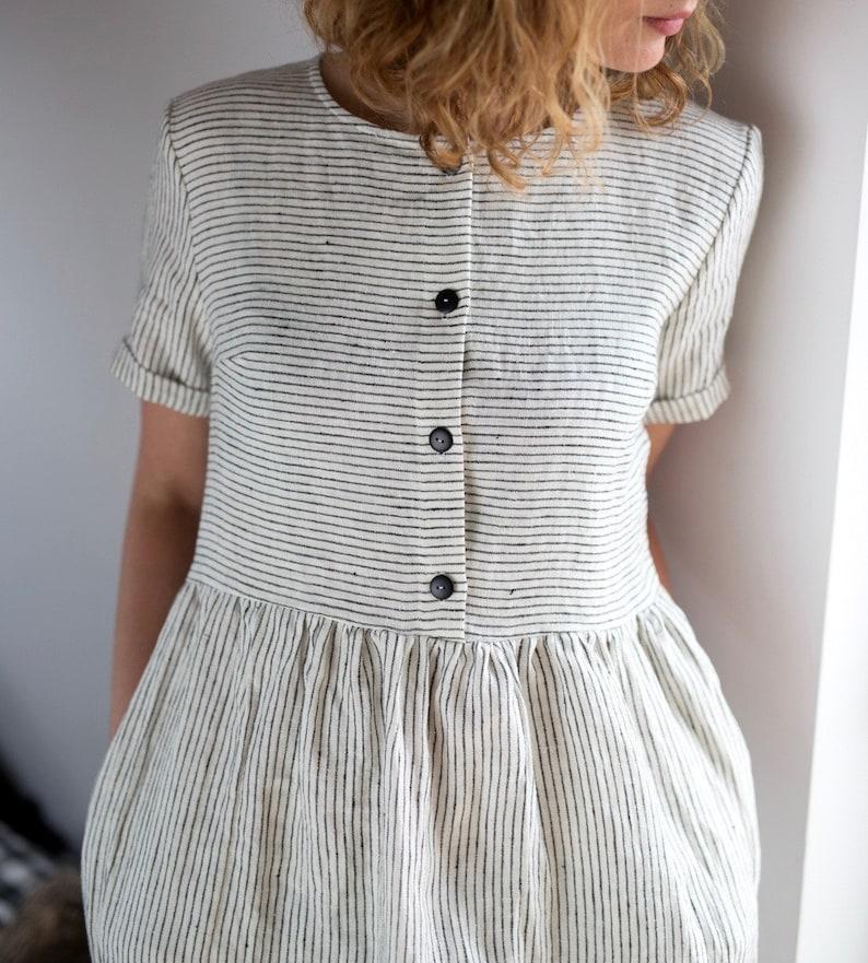 Linen Dress Striped Linen Dress Organic Linen Dress