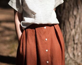 Linen Women Skirt/Redwood Linen Skirt/Midi Length Skirt/Handmade by OFFON