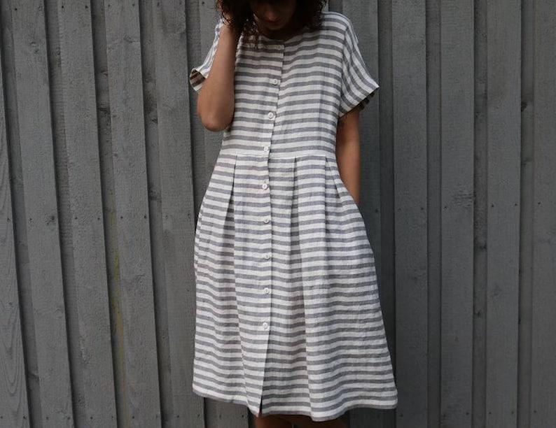 9541d38b51d9 Short Sleeve Striped Linen Dress Handmade by OFFON | Etsy