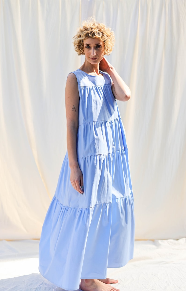 Sleveless Maxi cotton dress JULIE / OFFON CLOTHING image 2