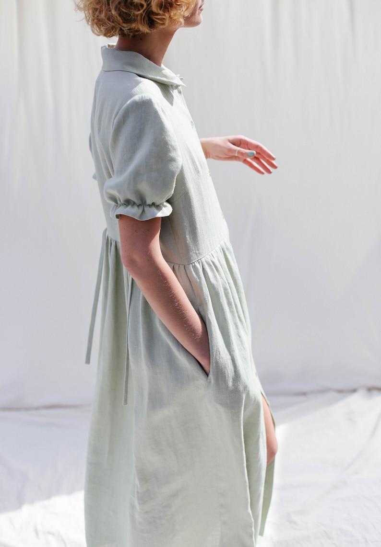Linen button through dress MAY   Handmade by OFFON. #handmadeclothing #dresses #prairiestyle