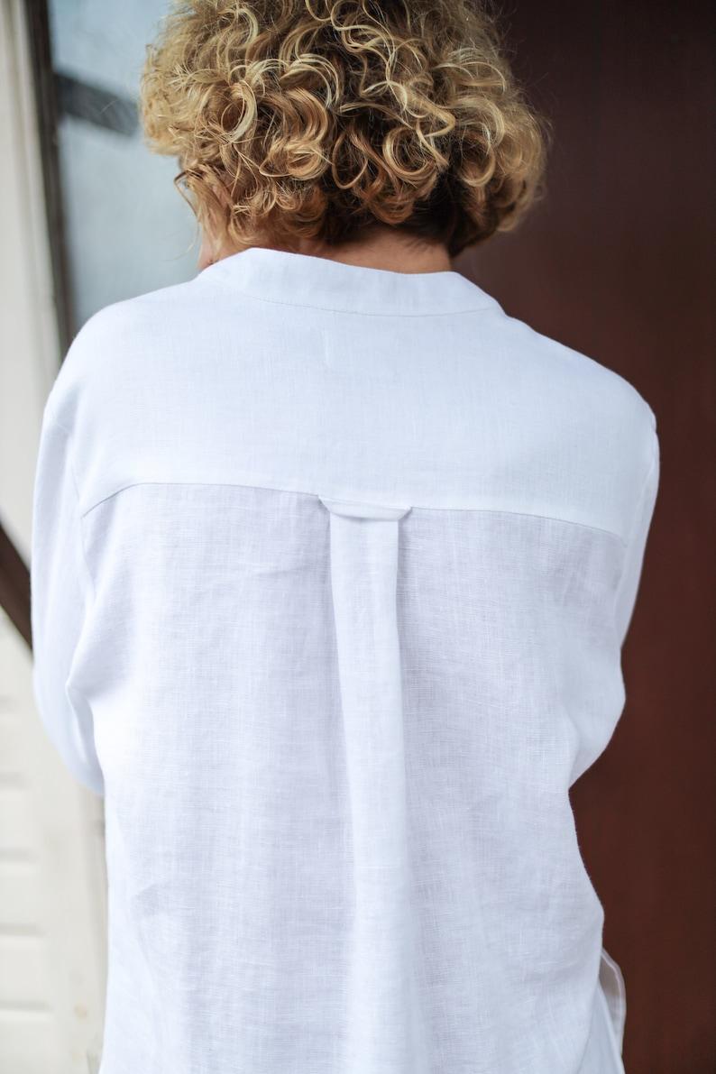 Linen mandarin collar shirts  Pull on long shirt OFFON CLOTHING