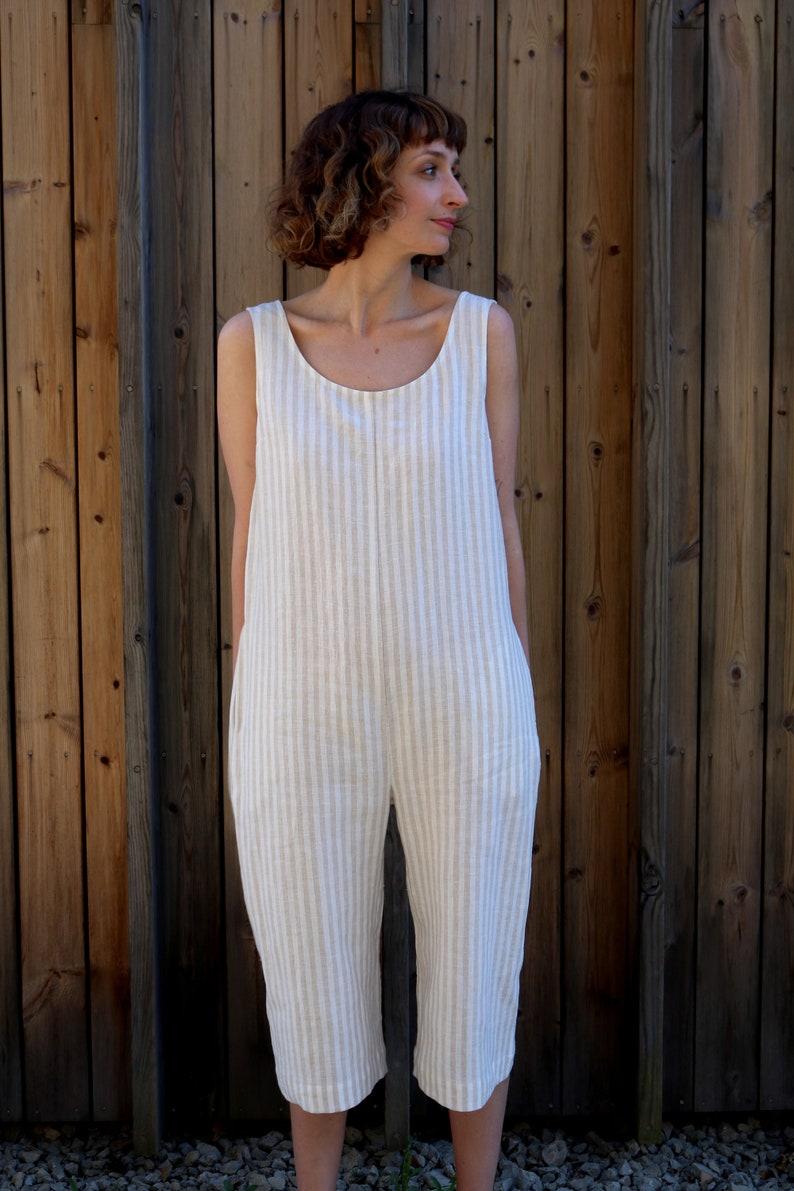 69e5aa6de366 Linen Jumpsuit Striped Jumpsuit Striped Linen Overall