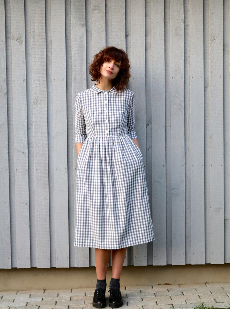 Vintage Shirtwaist Dress History Cotton Check Dress / Classic Shirt Dress / Women Cotton Shirt Dresses / Handmade by OFFON $143.54 AT vintagedancer.com
