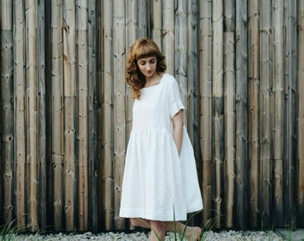 Linen Dress - White Linen Oversize Dress - Oversize Dress - Loose Fit Dress - Handmade by OFFON