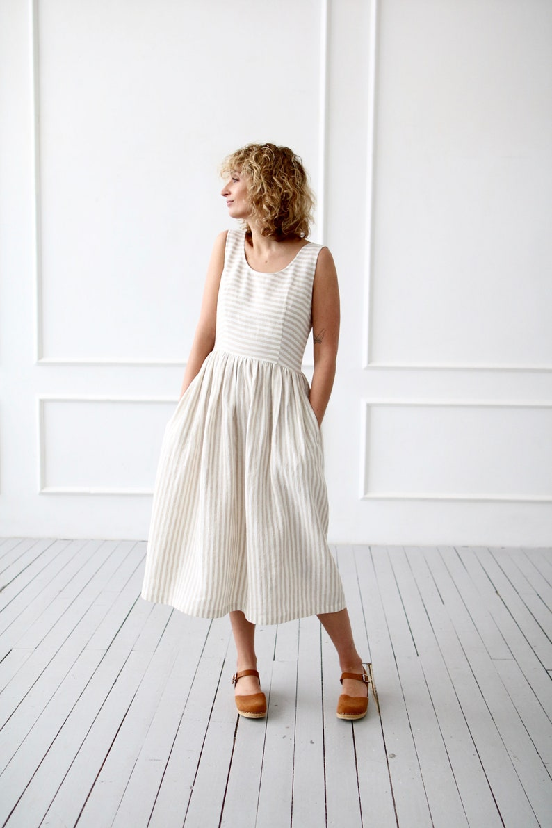 33d56d9ecb5 Sleeveless striped linen dress OFFON CLOTHING