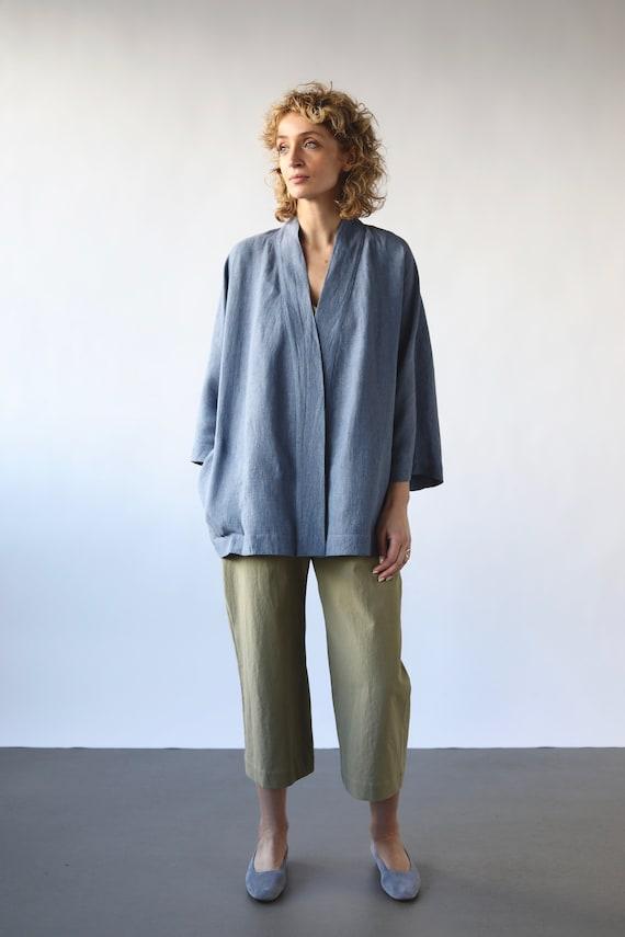 a6aaf11035 Linen kimono-style jacket OFFON CLOTHING
