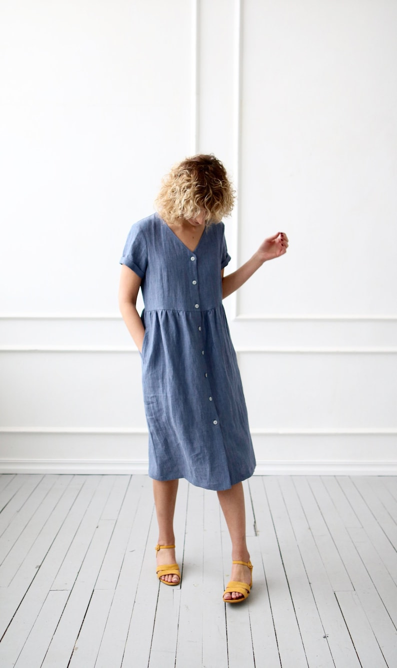 dafb0e49013 Linen dress with button closure   OFFON Clothing