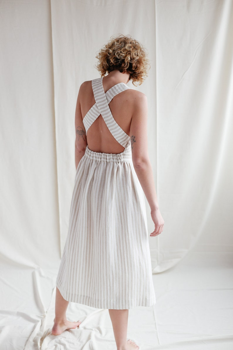 Cottagecore Clothing, Soft Aesthetic Linen Apron Dress / Handmade by OFFON Clothing $134.98 AT vintagedancer.com