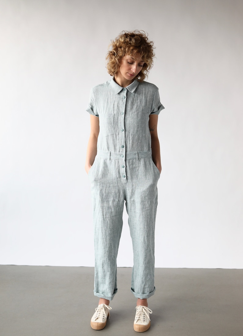 70s Jumpsuit | Disco Jumpsuits, Sequin Rompers Linen short sleeve coverall jumpsuit / OFFON CLOTHING $161.72 AT vintagedancer.com