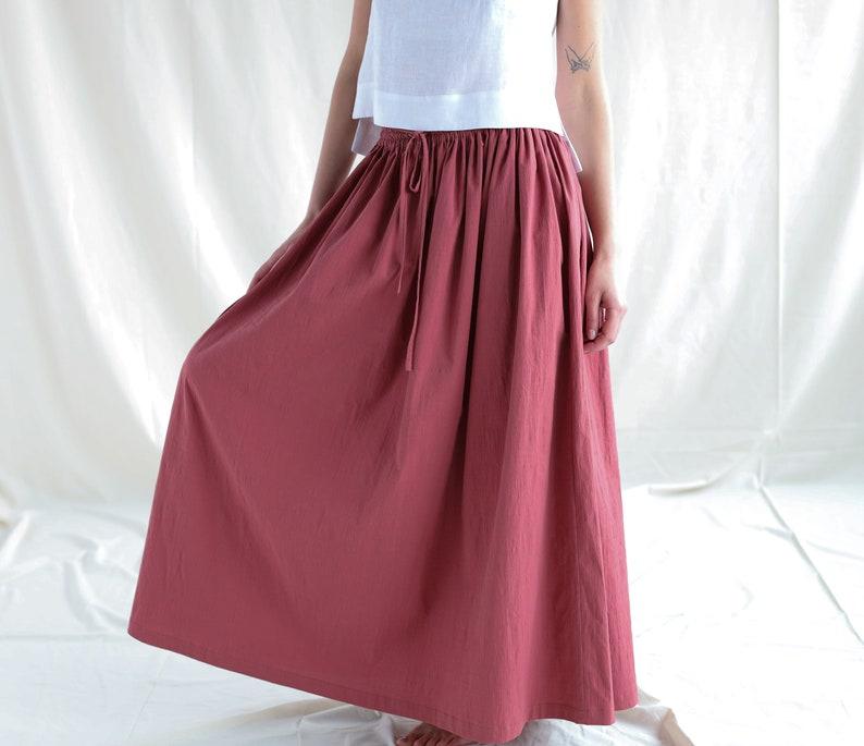 Maxi ruffled A-line cotton skirt  OFFON Clothing