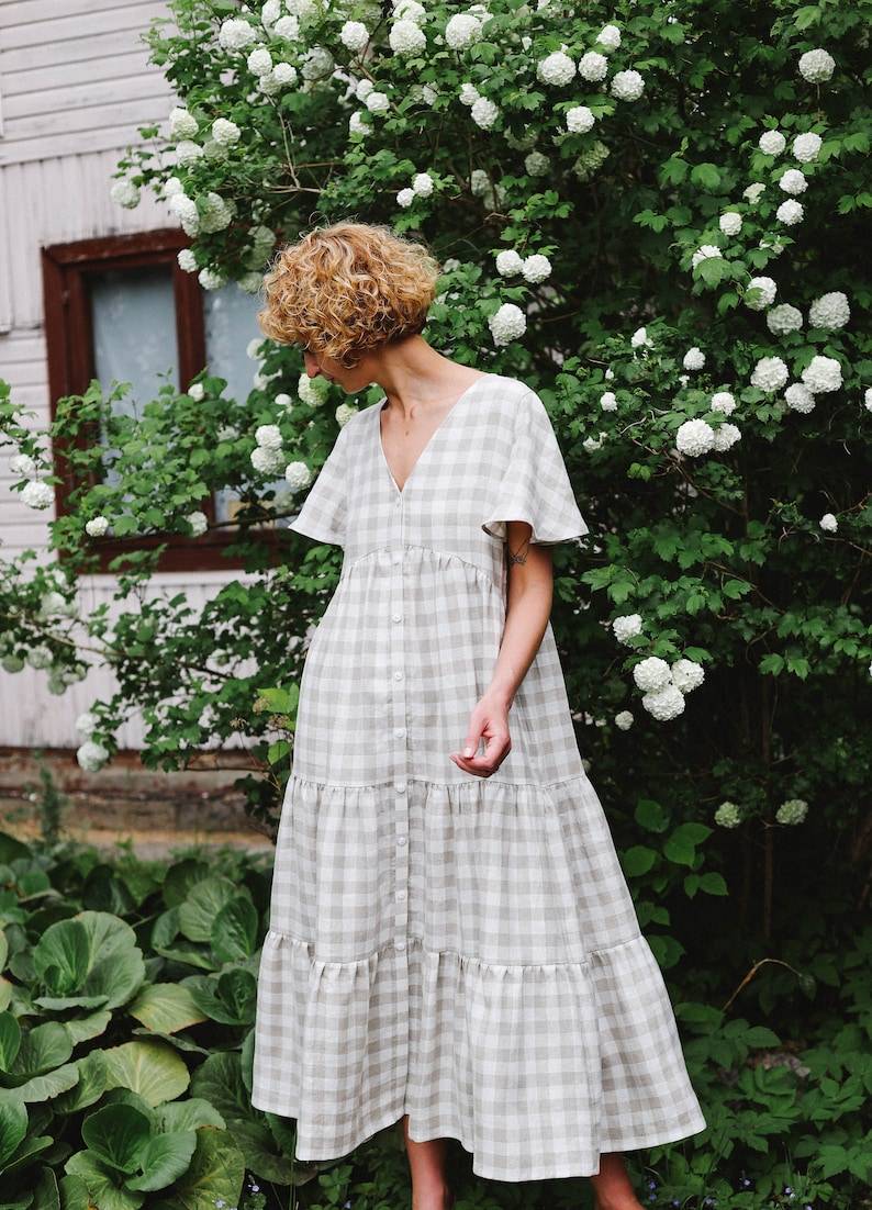 Get a gorgeous California modern farmhouse look with a tiered Maxi linen check dress handmade by OFFON Clothing.
