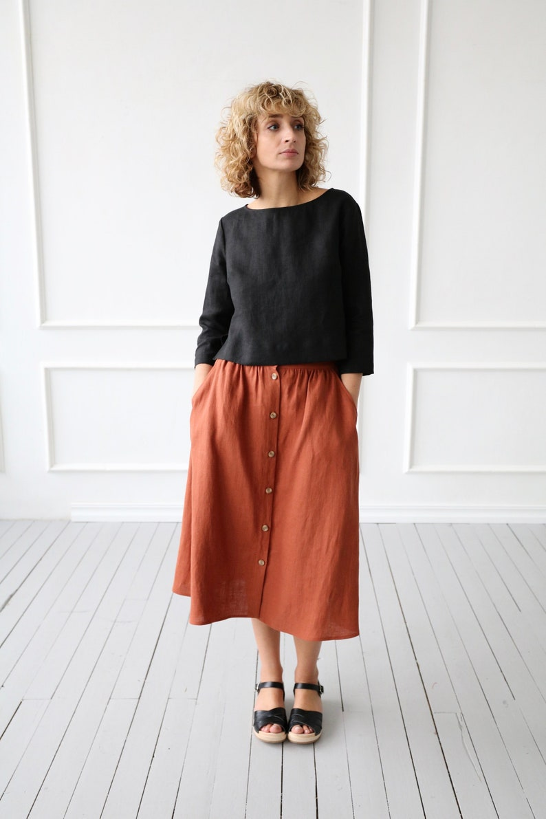 1450b77db63 Cropped Hem Linen Top OFFON CLOTHING
