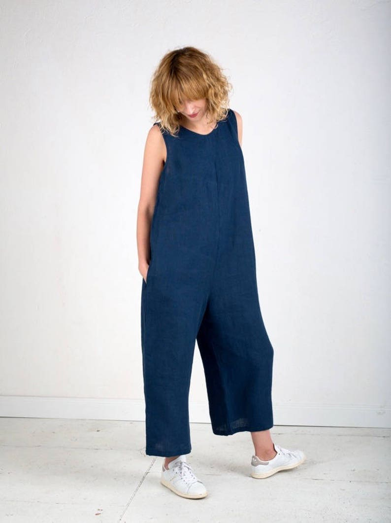 c86bf3a73870 Linen Jumpsuit Navy Blue Jumpsuit Sleeveless Jumpsuit