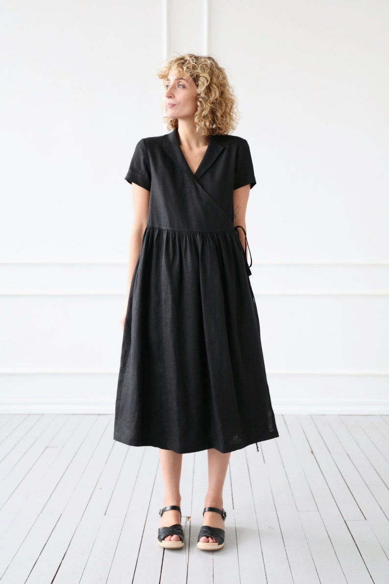 fd17875c579 Black linen wrap dress OFFON CLOTHING