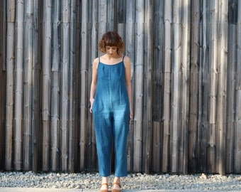 Linen Jumpsuit/Summer Jumpsuit/Shoestring Jumpsuit/Teal Blue Overall/Linen Romper/Handmade by OFFON