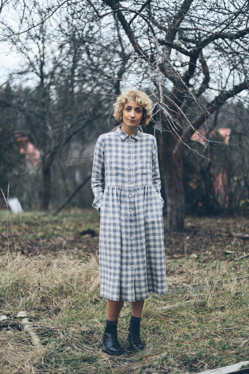 1920s Style Dresses, 20s Dresses Linen checkered dress / Linen button up MIDI dress / OFFON CLOTHING $148.99 AT vintagedancer.com
