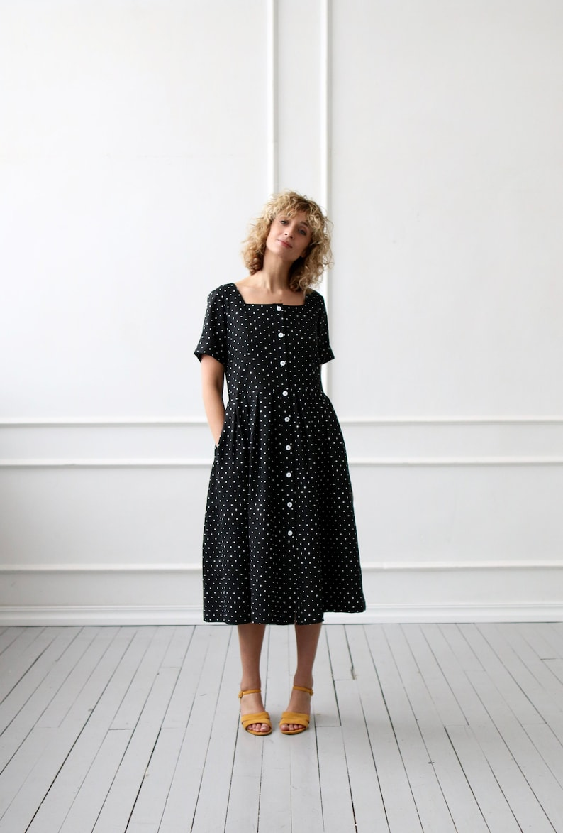 4ab3fcd0afa Linen dress in black polka dot  OFFON Clothing