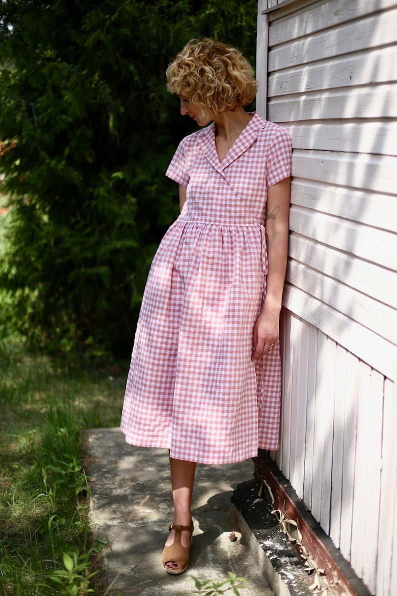 1940s Dress Styles Checkered cotton wrap dress/OFFON CLOTHING $139.86 AT vintagedancer.com