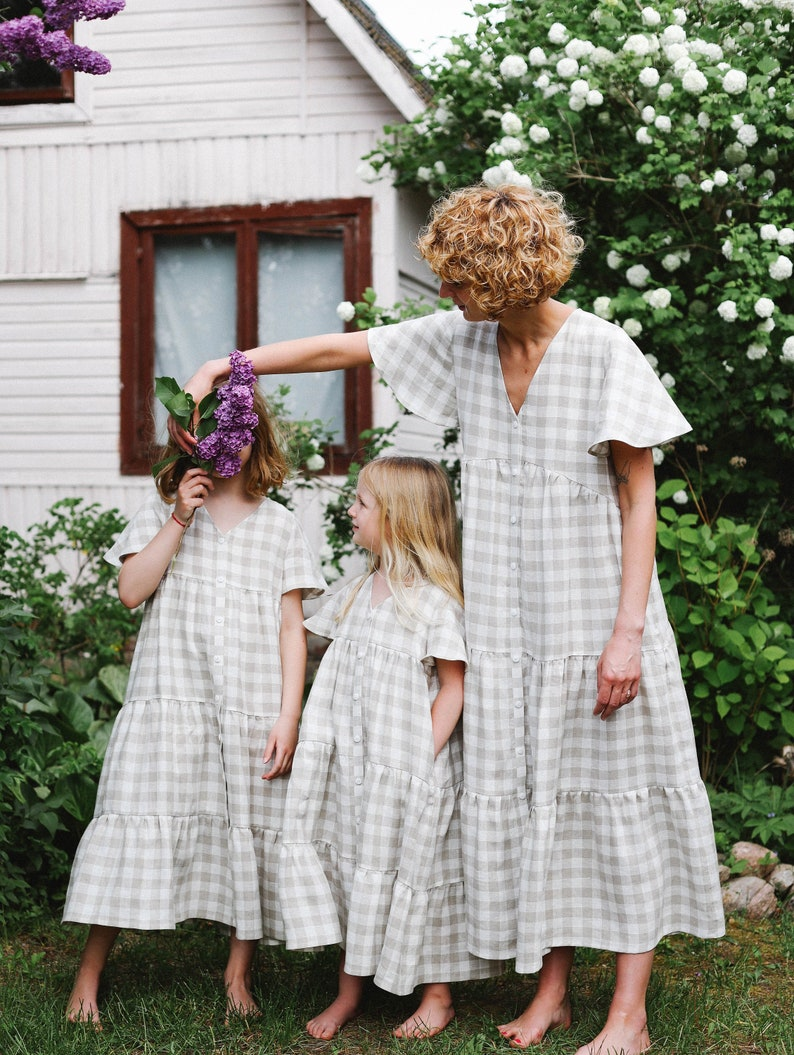 Linen mommy and me checkered dress / OFFON CLOTHING image 0