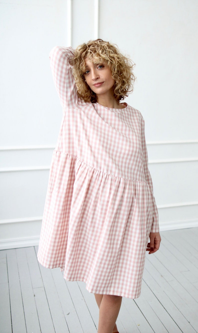 63f43a115b1 Smock dress in dusty rose checks OFFON CLOTHING