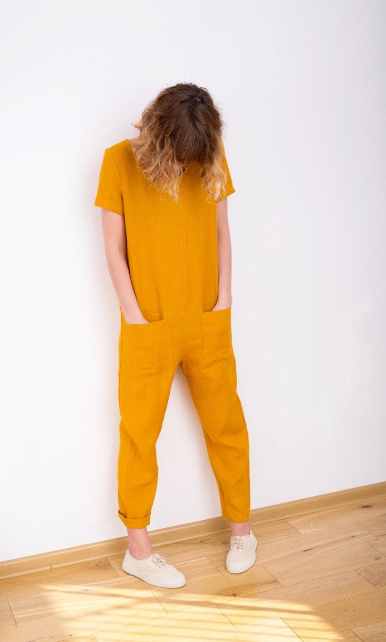 c81a42405319 Linen Jumpsuit Mustard Jumpsuit Short Sleeve Jumpsuit