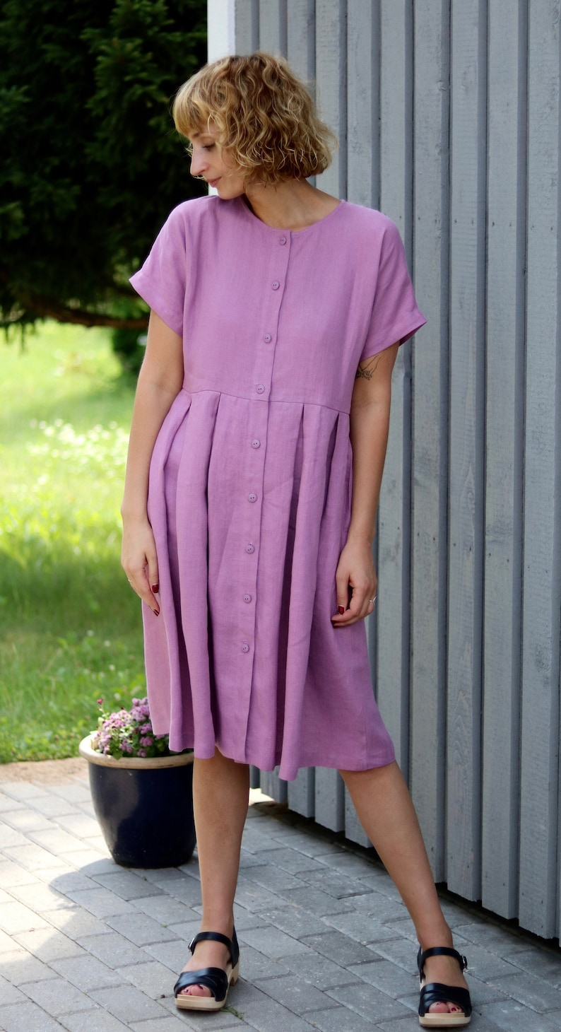 a6e4e7fb97d Linen women dress with button closure   OFFON Clothing