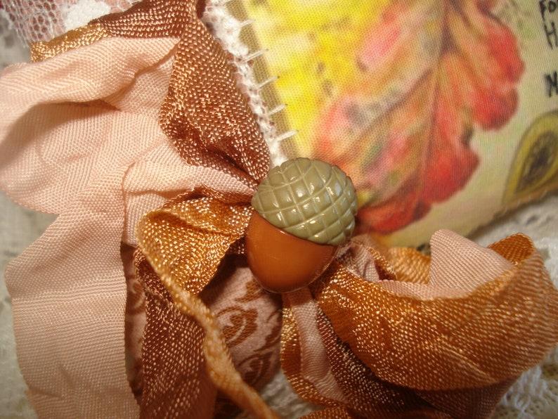 OOAK Handmade PINCUSHION Vtg Thread Advertising Image of Fall Leaves and Acorns