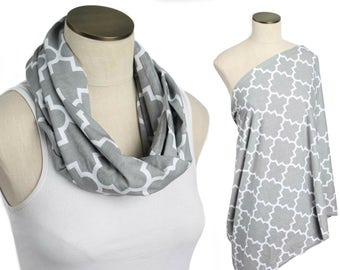 Gray Quatrefoil Hold Me Close Nursing Scarf, Nursing Cover, Infinity Nursing Scarf, Nursing Poncho