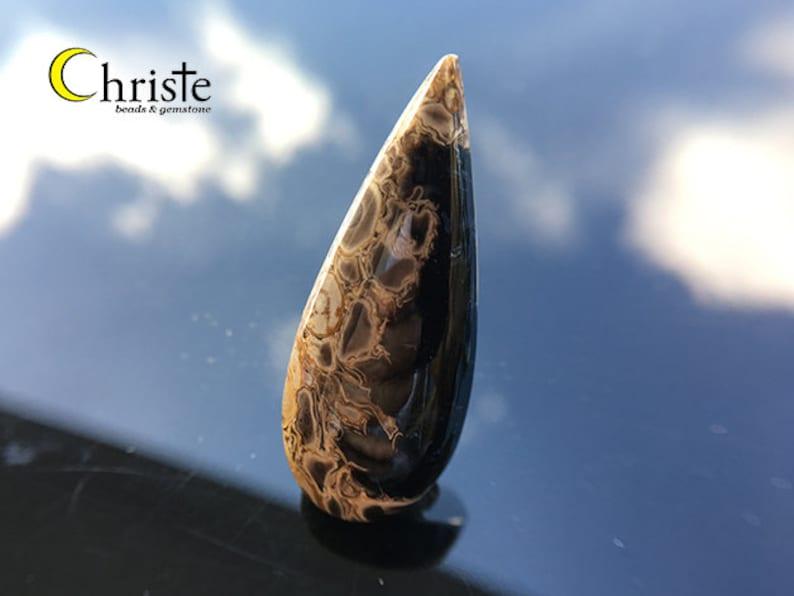 WF21 FEB012 Natural Petrified Palm Wood Fossil Cabochon teardrop 15x38x6mm