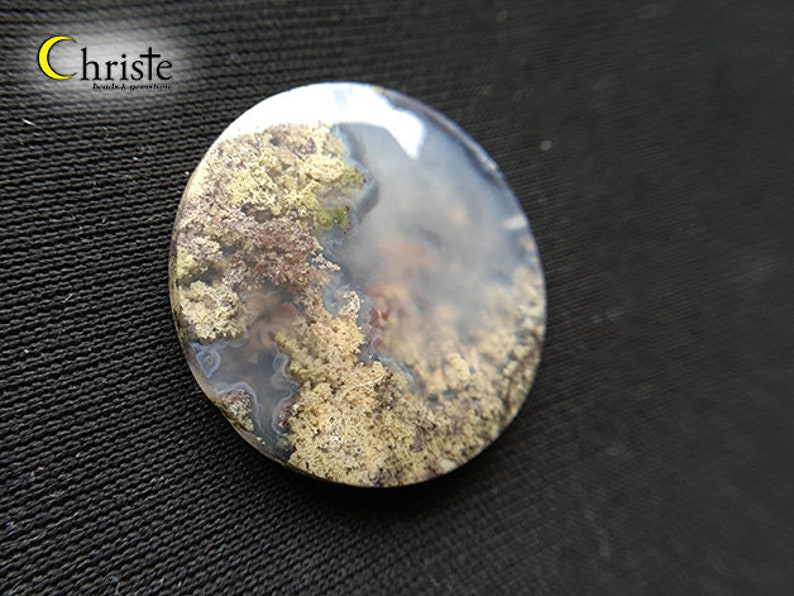 AG21 JAN010 Natural scenery dendritic quartz picture moss agate round cabochon 31x5mm