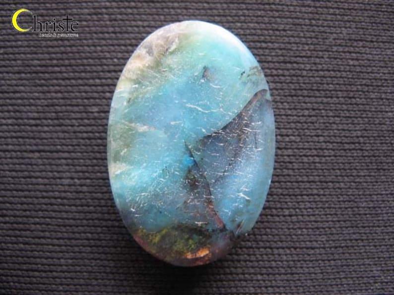 E MYSALE Blue Opalized Petrified Wood Fossil Cabochon Oval 18x26x6mm
