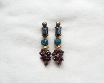 """Boucles d'oreilles clips en pierres naturelles nommées """"FONTAINEBLEAU"""""""