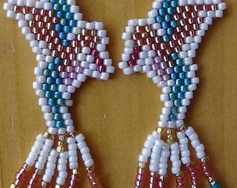 Hummingbird Hand-beaded earrings