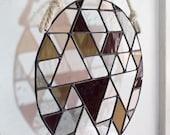 "Stained Glass OPENWORK 9"" ROUND // window hanging, wall art, customizable, suncatcher, glass art, modern stained glass"
