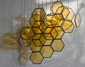 Stained Glass Honeycomb Drops (set of 10) // window hanging, wall art, customizable, suncatcher, glass art, modern stained glass