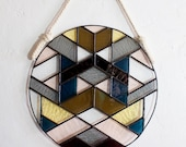 """Stained Glass SYMME 10"""" ROUND // window hanging, wall art, customizable, suncatcher, glass art, modern stained glass"""