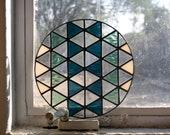 "Stained Glass TRIANGLES DEMI-ROUND / 8"" / unfixtured // window art, shelf art, customizable, glass art, modern stained glass"
