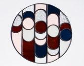"Stained Glass COURSO DEMI-ROUND / 10"" / unfixtured // window art, shelf art, customizable, glass art, modern stained glass"