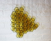 Stained Glass Honeycomb Drops (set of 14) // window hanging, wall art, customizable, suncatcher, glass art, modern stained glass