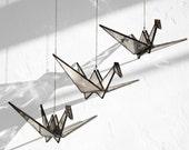 Stained Glass Origami Crane (set of 3) // window hanging, wall art, customizable, suncatcher, glass art, modern stained glass