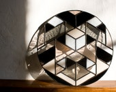 "Stained Glass SYMME DEMI-ROUND / 10"" / unfixtured // window art, shelf art, customizable, glass art, modern stained glass"