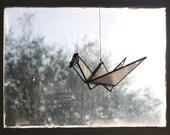Stained Glass Origami Crane // window hanging, wall art, customizable, suncatcher, glass art, modern stained glass