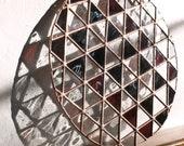 "Stained Glass TRIANGLES DEMI-ROUND / 10"" / unfixtured // window art, shelf art, customizable, glass art, modern stained glass"