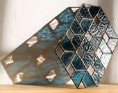 Stained Glass DEMIS // window art, shelf art, customizable, glass art, modern stained glass