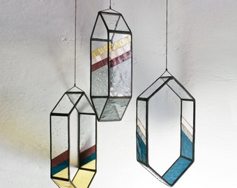 Striped Long HEX Stained Glass Elements (set of 3)