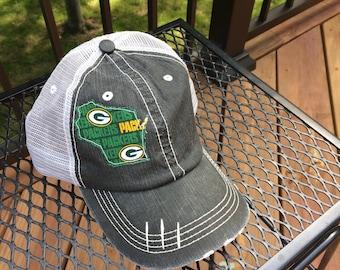 Green Bay Packers Trucker Hat Wisconsin Distressed Trucker Hat 0eb706950