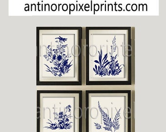 Flower Garden Botanical Print Gallery Set of (4) 8x10- Art Prints (Featured in Creme Background and Navy) Blue Off White Khaki (Unframed)